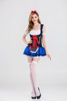 Wholesale Pirate Costume Design - New Design Sexy Beer Girl Costume 3 Pieces Germany Oktoberfest Outfits Women White Top Green Overalls Fashion Beer Maid Uniform
