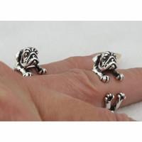 Wholesale Hippie Rings - 60pcs lot Knuckle Ring Vintage Punk Pug Dog-design finger Rings Hippie Rings Women Men FineJewelry wholesale