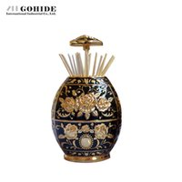 Wholesale toothpicks automatic - Wholesale- Gohide Faberge Egg Design Special Gold Vinyl Toothpick Tube Automatic Handmade Carving Rose Toothpick Box Home Ktv Supplies