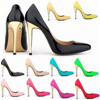 Wholesale ladies high heel working shoes - Sapatos Feminino Ladies Super High Heels Fashion Style Patchwork Gold with Work Pumps Patent Shoes US Size 4-11 D0065