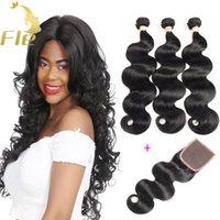Wholesale Best Remy Hair Closure - Brazilian Remy Human Hair Bundles with Lace closure 3Bundles Best Body Wave Virgin Brazilian Remy Hair Weaves With Closure Natural Color 1b