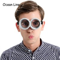 Wholesale Despicable Minions Costumes - Funny Decorative Despicable Me Minions Cosplay Costume Glasses Party Props 3D Circular Glass Birthday Party Supplies Decoration