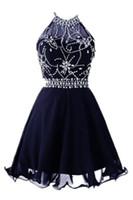 navy sexy bild großhandel-Sparkly Backless Halter Short Homecoming Gowns 2019 Chiffon A Line Echt Bild Dark Navy Blue Graduation Cocktailkleider Kristall Perlen