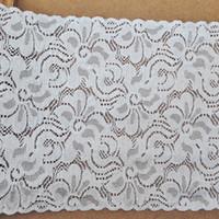 Wholesale Eyelet Flower Fabric - 21CM Width 10yds lot White Jacquard Lace (JL007)Flowers Eyelet Ribbon Big Lace Sewing Costume Accessories Handmade Creft underwear decor