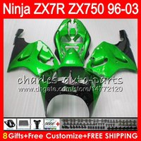 Wholesale 97 kawasaki zx7r - 8Gifts 23Colors For KAWASAKI NINJA ZX7R 96 97 98 99 00 01 02 03 18NO63 green black ZX750 ZX 7R ZX-7R 1996 1997 1998 2001 2002 2003 Fairing