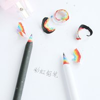 Wholesale black wooden pencil - Wholesale- 2pcs pack Creative Rainbow Wooden Black & White Standard Pencil Writing Drawing Pencils School Office Supply Student Stationery