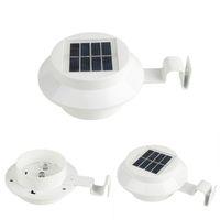luces led canal al por mayor-Solar 3LED Lámpara de pared de techo de valla de luz exterior Luz solar automática IP44 para Garden Yard DHL Envío gratis