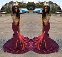 Wholesale Pearl Short Girl Jacket - Charming African Style Off Shoulder Prom Dresses 2017 Gold And Burgundy Evening Gowns For Black Girls Long Sleeve Sweep Train Formal Dresses