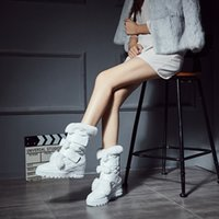 Wholesale White Flat Thigh High Boots - Europe and the United States in the rabbit boots in the round leather boots thick leather boots, and now hot in Europe and the United States