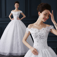 Wholesale Qi Clothing - 2016 autumn new woman's clothing Qi to diamond lace halter Korean Princess bride lace shoulder dress wedding dress H10