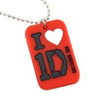 tek yönde zincir kolye toptan satış-Sıcak Satmak 1 ADET One Direction Aşk Silikon Köpek Etiketi Kolye Ile 24 Inç Top Zincir 4 Renkler