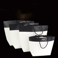 Wholesale Bags Cardboard - Kraft Paper Tote Bag Black white cardboard Packing Bags Square Bottom Bread Food clothing Packaging Bag Shopping Bags