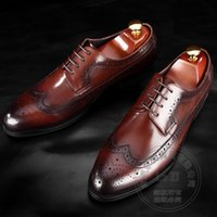 Wholesale Dress Shoe Laces Wax - Soft Leather Longwing Brogue Cowhide Wax Shoes Oxford Solid Dress Shoes Italy Bridegroom Reminiscence Italian Mens Shoes Brands