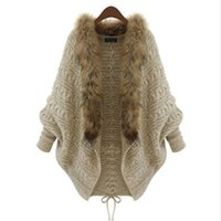 ingrosso maglioni boutique-All'ingrosso-europeo e americano versione di tendenza urbana collo di pelliccia pipistrello maglione maglia maglione cardigan donne Boutique 1209