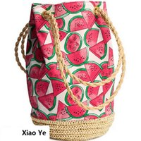 Wholesale-String Sackpack Straw Summer Beach Bag Fruit Fruit Watermelon Printing Tote Femme sac à godet Sac à bandoulière Canvas Sacs à main tissés