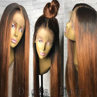 Wholesale 1b Burgundy Color Wigs - Diosa Ombre Human Hair Wigs Two Tone Silky Straight Lace Front Human Hair Wigs 1B Burgundy Glueless Full Lace Wigs 180 Density