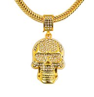 Wholesale Ghost Pendants - Gold Bling Personality Skull Head Pendants Jewelry Gifts Chains Men Women Hip Hop Charm Ghost Face Crystal Necklaces