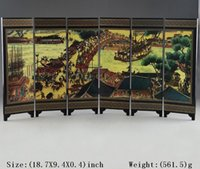 Wholesale CHINESE LACQUER WARE HAND PAINTING QINGMING FESTIVAL HOME SCREEN DECOR SUPERB