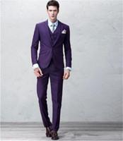 Wholesale Groomsmen Purple Vest Black Suit - 2017 Three Piece Purple Groomsmen Wedding Tuxedos for Men Notched Lapel One Button Trim Fit Custom Made Mens Suits (Jacket + Pants + Vest)