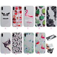 Fashoin Lace Flower Soft TPU Case para Iphone X 8 7 Plus 6 6S SE 5 5S Silicone Butterfly Cat Panda Flamingo Cute Cartoon Clear Cove Skin