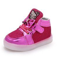 Wholesale Rhinestone Bow Shoes Girls - Kids Girls Sequin Shoes 2017 Baby Girls Rhinestone Hello Kitty Sneakers For Children Pink Color Bow Knot Casual Shoes With LED Light J001