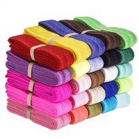 élastiques cheveux achat en gros de-50 mètres Fold Over Elastic Stretch Foldover élastique élastiques pour cheveux cravates Headband variété de couleur