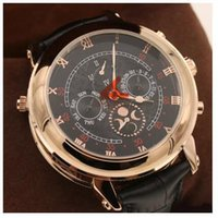 Wholesale Double Faces Watch - 2017 Top sell wholesale hot sell New Men's Automatic Watch Sky Moon Sport Style Double Face Leather Band Men Watches Wristwatch