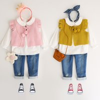 Wholesale Girls Knit Cardigan Vest - Children waistcoats boys and girls fly sleeve pompons knitting sweater Autumn kids bows lace-up cardigan vest kids cute clothes C1166