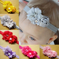 Wholesale Silk Rose Flower For Hair - Rose Flowers Headband Chic Flower Ribbon With Pearl Elastic Hairbands Hair Accessories For Kids sz012