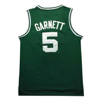 Wholesale Basketball Cloths - 2017 new men's 5# Kevin Maurice Garnett Basketball Jersey 100% Stitched Mesh cloth throwback basketball jerseys fast Shipping