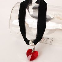 Wholesale Black Crystal Heart Pendant Necklace - Europe and the United States lace necklace heart - shaped crystal pendant lace black peach heart necklace female simple jewelry