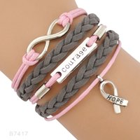 Wholesale Cancer Ribbon Bracelets - (10 PCS Lot)Infinity Love Courage Cancer Ribbon Awareness Charm Wrap Leather Bracelets For Women Men Gifts Custom Jewelry Drop Shipping