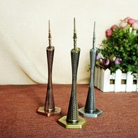 Wholesale architecture online - Guangzhou Canton Tower Model Metal Figurine Chinese Famous Landmark Architecture Fine Workmanship Waist Furnishing Articles Home Office Deco