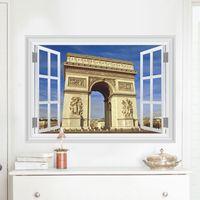 Wholesale Wall Background Sticker Paris - 3D Triumphal Arch Wall Sticker Home Decor Tv Sofa Background Paris Landmark Fashion Wallpaper Free shipping