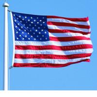 ingrosso linee degli stati uniti-Stripes Flag Red Line Bandiera americana americana Decorazione appesa Stati Uniti Thin USA Blue Star Poliestere Bandiera nazionale con occhielli in ottone