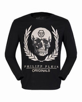 Wholesale Cheap Male Sweater - 2017 Autumn New Shirts Mens Long Sleeve Skulls Leaves 3D Printed Cheap Polo T shirt Slim Sweater Tee Shirt Male Casual Jacket 18101