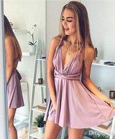 Wholesale Unique Dress Straps - Blush Pink Unique Homecoming Dresses 2018 Sexy Spaghetti Straps A Line Knee Length Graduation Gowns Mini Cocktail Dresses
