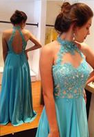 Wholesale plus size maxi dresses sale - Hot Sale Blue Appliques Beaded Open Back Halter Prom Dresses Long Women Flowing Chiffon Evening Maxi Gowns Chic Graduation Dress