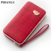Wholesale Wallet Red Butterfly - 2017 Leather Phone Wallets Women Purses Long Butterfly Red Coin Wallets Money Bags Credit Card Holders Clutch Bags Female