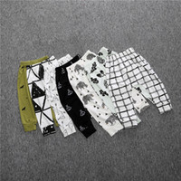 Wholesale Cheap Cotton Leggings Girls - geometric printed aminla infant baby girls boys pp pants pure cotton leggings white trousers wholesale cheap children clothing China