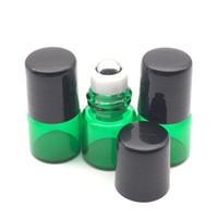 Wholesale Mini Green Glass Bottles - Empty Mini Perfume 1ml glass roller bottles Green Glass Bottle Roller Metal Roller Ball Bottle Essential Oil Sample Bottle