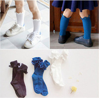 Wholesale Child Lace Ruffle Socks - Girls socks fashion kids sweet lace ruffle stocking knee high socks children princess socks non-slip Stockings children cotton sock T1054