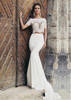 Wholesale Fantastic Appliques - Fantastic Chiffon Bateau Neckline Two-piece Mermaid Wedding Dresses With Lace Appliques Half Sleeves Bridal Dress vestido de novia