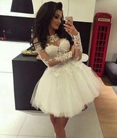 Wholesale Little Girls Vintage Dresses - Little White Short Mimi Prom Homecoming Dresses Long Sleeves Sheer Crew Vintage Lace Tulle Cheap Party Dress Girls Ball Gown 2017