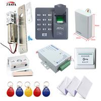 bloquear fornecedores venda por atacado-Fingerprint RFID Sistema de Controle de Acesso Kit Moldura Da Porta De Vidro Set + Eletric Bolt Lock + ID Cartão Keytab + Fornecedor De Energia + Botão + Campainha