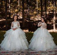 lange ärmel bodenlänge tüll großhandel-Holy White Lovely Flower Girls Kleider 2020 Lace Top Sheer Long Sleeves geraffte Tüll bodenlangen Stufenröcke Mädchen Pageant Kleider