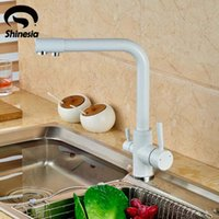 Wholesale Hot Cold Water Color - Wholesale- White Color Kitchen Faucet Pure Water Spout Tap Single Hole Vessel Sink Hot andf Cold Water Mixer Tap