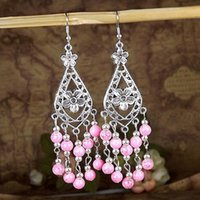 8PCS Femmes Vintage Beads Waterdrop Flower Dangle Boucles d'oreilles ethniques Bohemia Tassel Drop Earring Tribal Jewelry 8 Couleurs