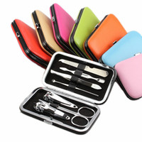 Wholesale Manicure Set Piece - 7 pieces of candy colored Manicure Manicure Nail Clippers nail beauty tools solid beauty gift set