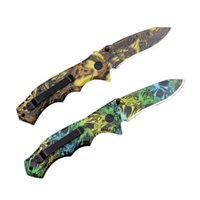 Wholesale Buck Hunting - Cool Buck X54 Outdoor Folding Knife Multifunctional Folding Fruit Camping Climbing Knifes Green Yellow Leaf Hunting Folding Knifes gasket